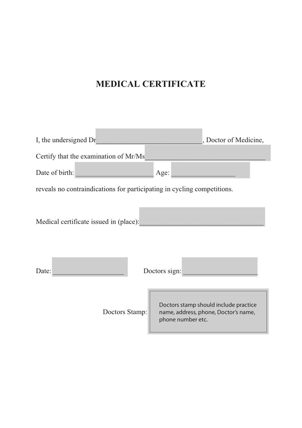 Etape du Tour medical certificate – Medical Certificate from Doctor