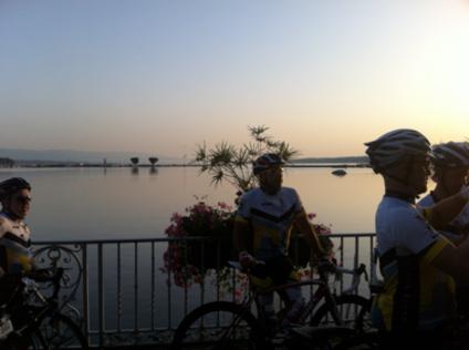 Sunrise over a placid Lake Geneva