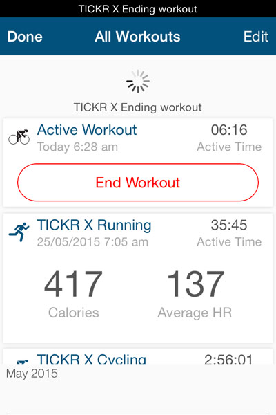 Wahoo Tickr X Review: iOS app end workout image