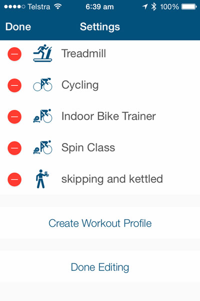 Wahoo Tickr X Review: workouts screen